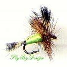Chartreuse Humpy - Twelve Deadly Hook Size 6 Dry Flies