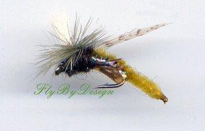 Parachute Olive Caddis Emerger Fly Twelve Size 14 Flies