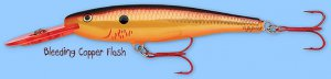 "Rapala Bleeding Copper Flash ""Deep Diving"" Minnow Rap Fishing Lure (MR11 BCF)"