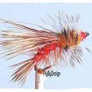 Fire Orange Stimulator Fly Fishing Flies - Twelve Premium Flies Choice of Size