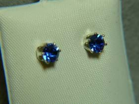 Royal Sapphire Blue Faceted Ear Stud
