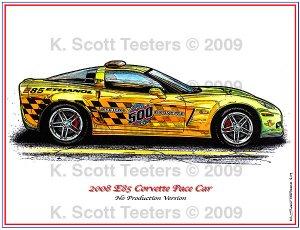 2008 Corvette E85 Pace Car Laser Color Print
