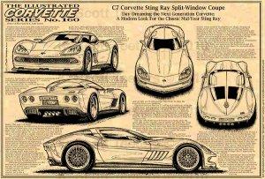 C7 Corvette Sting Ray Split-Window Coupe Concept  Illustrated Series No. 160