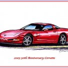 2003 50th Anniversary Corvette Laser Color Print