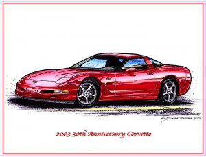 2003 50th Anniversary Corvette Laser Color Print