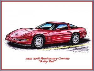 1993 40th Anniversary Corvette Laser Color Print