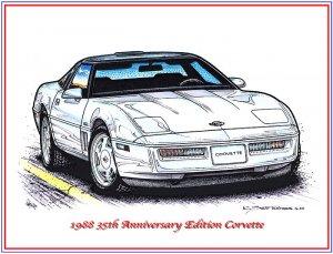 1988 35th Anniversary Corvette Laser Color Print