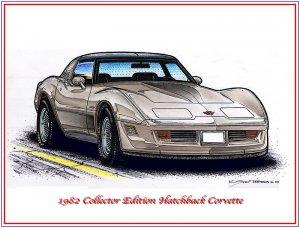 1982 Collector Edition Hatchback Corvette Laser Color Print