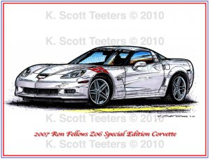 2007 Ron Fellows Z06 Special Edition Corvette Laser Color Print