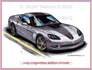 2009 Competition Edition Corvette Laser Color Print