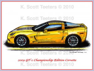 2009 GT-1 Championship Edition Corvette Laser Color Print