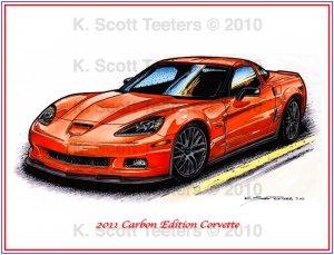 2011 Carbon Edition Corvette Laser Color Print