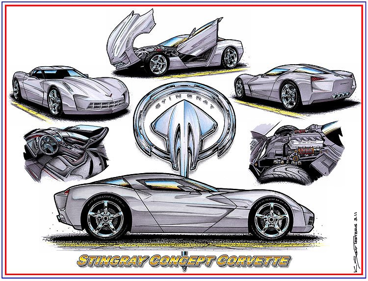"Stingray Concept Laser Color Print ""C7 Sneak-Peek Or Just the Latest Corvette Concept Car?"""