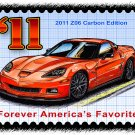 2011 Z06 Carbon Edition Corvette Postage Stamp Art Print