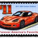 2011 Z06 Carbon Edition Corvette Postage Stamp Art Print