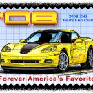 2008 ZHZ Hertz Fun Club Corvette Postage Stamp Art Print