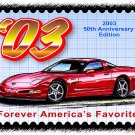 2003 50th Anniversary Edition Corvette Postage Stamp Art Print
