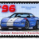 1996 Grand Sport Corvette Coupe Postage Stamp Art Print