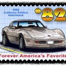 1982 Collector Edition Hatchback Corvette Postage Stamp Art Print