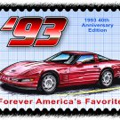 1993 40th Anniversary Edition Corvette Postage Stamp Art Print