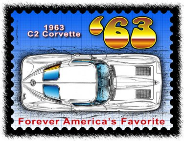 1963 Corvette Year by Year Postage Stamp Art Print