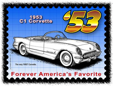 1953 Corvette Year by Year Postage Stamp Art Print