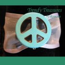 Peace Sign Ribbon Bracelet, Turquoise on Sheer White, Love Style, Ramona Beasley