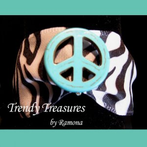 Peace Sign Ribbon Bracelet, Turquoise on Black & White, Love Style, Ramona Beasley