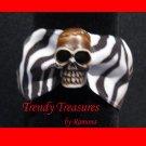 Skull Ribbon Bracelet, Brown on Black & White, Goth Biker Style, Ramona Beasley