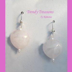 Rose Quartz Heart Earrings, Original Design, Ramona Beasley