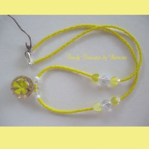 Yellow Flower Glass Pendant on Beaded Necklace, Crystals, OOAK