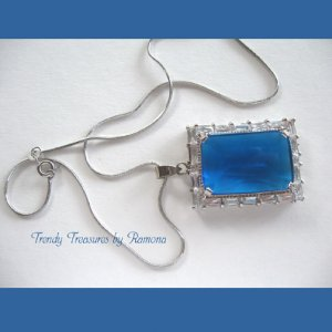 Blue Faceted Crystal Pendant,Prom, Sterling Silver Chain, Rhinestones