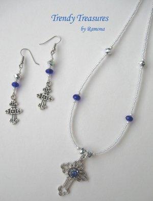 Vintage Cross Pendant Necklace, Blue Rhinestones, Matching Earrings, Set