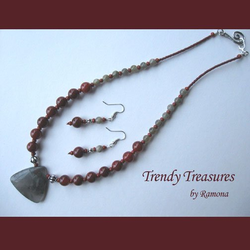 African Bloodstone Pendant Necklace, Matching Earrings, Red Color,Natural Polished Gemstones