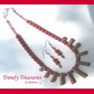 Red Multi-color Polished Gemstone Necklace, Free Earrings, Multi-size Spears