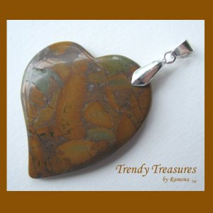 Bamboo Jasper Tilted Heart Pendant, Artisan Crafted, Make Necklace, Texas