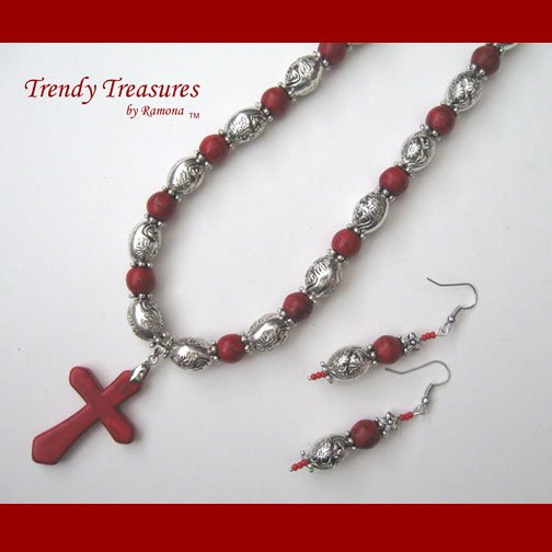 Red Gemstone Cross Beaded Necklace Red Silver, Free Matching Earrings