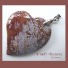 Ocean Jasper Tilted Heart Pendant, Artisan Crafted, Make Necklace, Texas