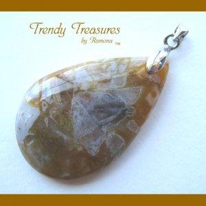 Bamboo Agate Teardrop Pendant, Artisan Crafted, Gemstone, #TrendyTreasuresByRamona