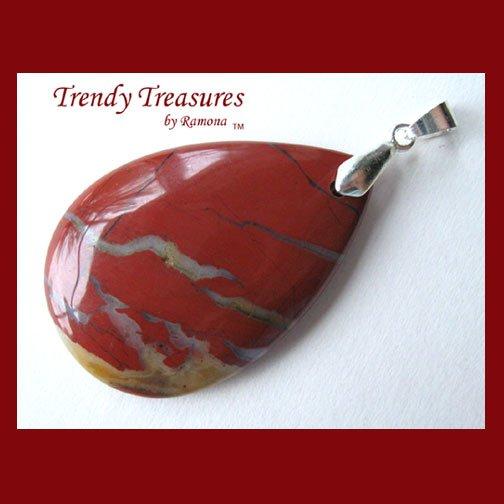 Flame Jasper Teardrop Pendant, Gemstone, #TrendyTreasuresByRamona