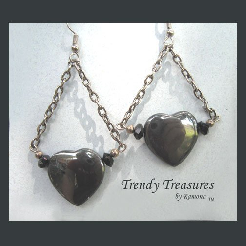 Hematite Heart on Chain Earrings, Original Design, Ramona Beasley