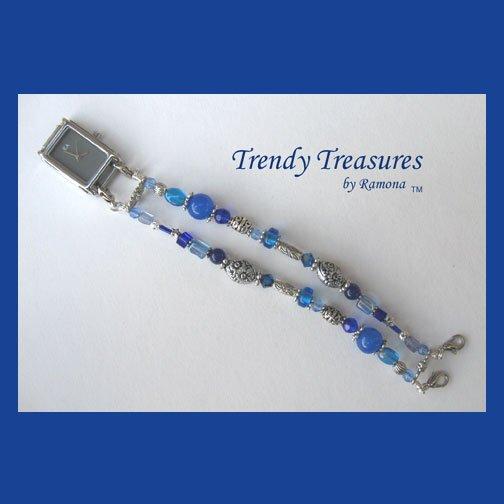 Blue Crystal Watchband, Interchangeable, Clips On, Ramona Beasley