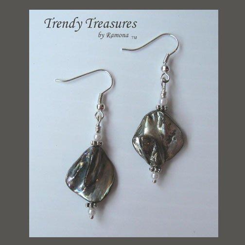 Silver Color Mother of Pearl Shell Earrings, Original Design,#TrendyTreasuresByRamona
