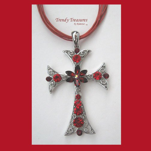 Red Rhinestone Cross Pendant Necklace, Red Rhinestones, Red Cords