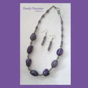Purple Polished Agate Chunks Necklace, Statement, Free Earrings