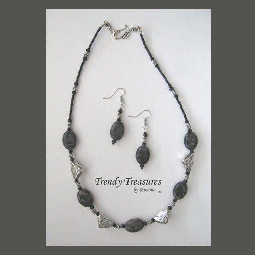 Black Polished Jasper Ovals Necklace,Pewter Chunks,Free Earrings,#TrendyTreasuresByRamona