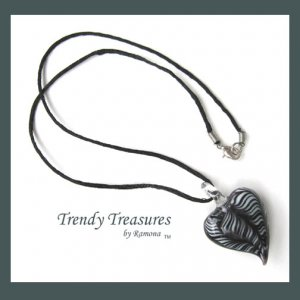 Black & White Swirl Glass Puffed Heart Pendant Necklace,#TrendyTreasuresByRamona