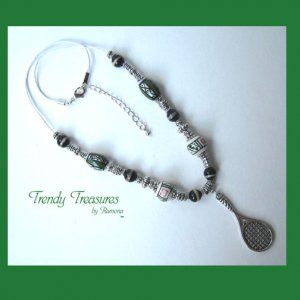 Tennis Racquet, Pewter &amp; Ceramic Bead Accents, Corded Necklace,#TrendyTreasuresByRamona