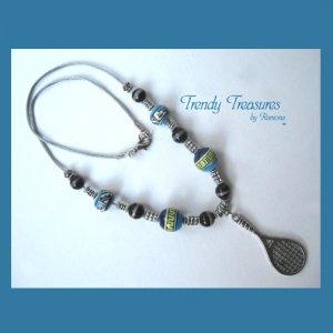 Turquoise Tennis Racquet Pendant,Cord Necklace,Ceramic,#TrendyTreasuresByRamona,