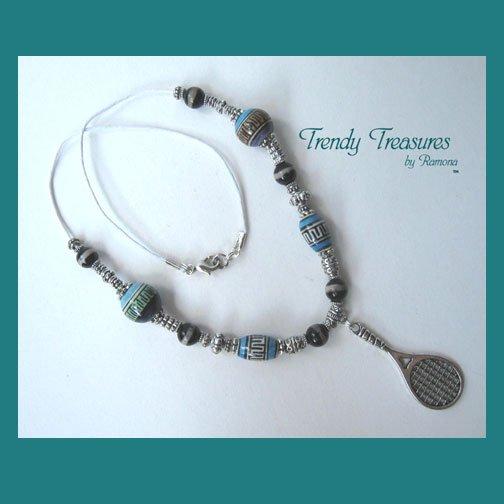 Tennis Racquet Pendant,Cord Necklace,Ceramic,Blue,#TrendyTreasuresByRamona,